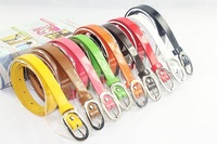Women's thin all-match belt female belt fashion candy color japanned leather women's strap 66002