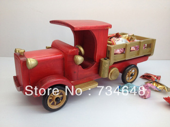 Handmade Wooden Decorative Home Accessory Vintage Red Truck Model