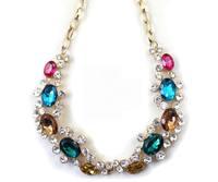 The golden color stones Zircon  banquet fashion short necklace