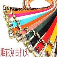 Fashion heart carved vintage candy color pigskin women's small strap thin belt decoration belt