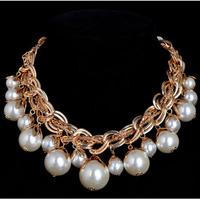 Luxury vintage pearl big royal bride dress necklace