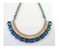 Fashion Zircon crystal imitation gold edge short necklace