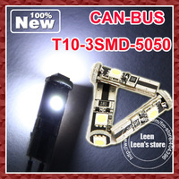 DHL Fedex Free Shipping Hot High bright T10 W5W Canbus 3SMD 5050 LED Cool White  For Signal Indicator light  Car Bulb