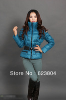 Winter Women Leather Jacket 2013 Down- Filled Short Design Coat Padded Down Outwear Thick  Jackets With Belt  s-XL Blue Black