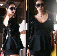 Women's long Sleeve Lace Slim Mini Pencil patchwork ladies black Lady casual Dress WE0134