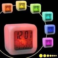 Free Shipping Night Colorful Glowing Clock  LED Colors Change Digital  Desktop Alarm Clock  E001