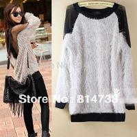 Sexy Lady Backless Long Sleeve Soft Fur Transparant Grenadine Tops Blouse Sweatshirts  WC15