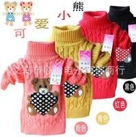 Fall winter Turtleneck Cartoon Bear Children Sweater Brand Crochet Knit Girls Sweaters Children Clothing
