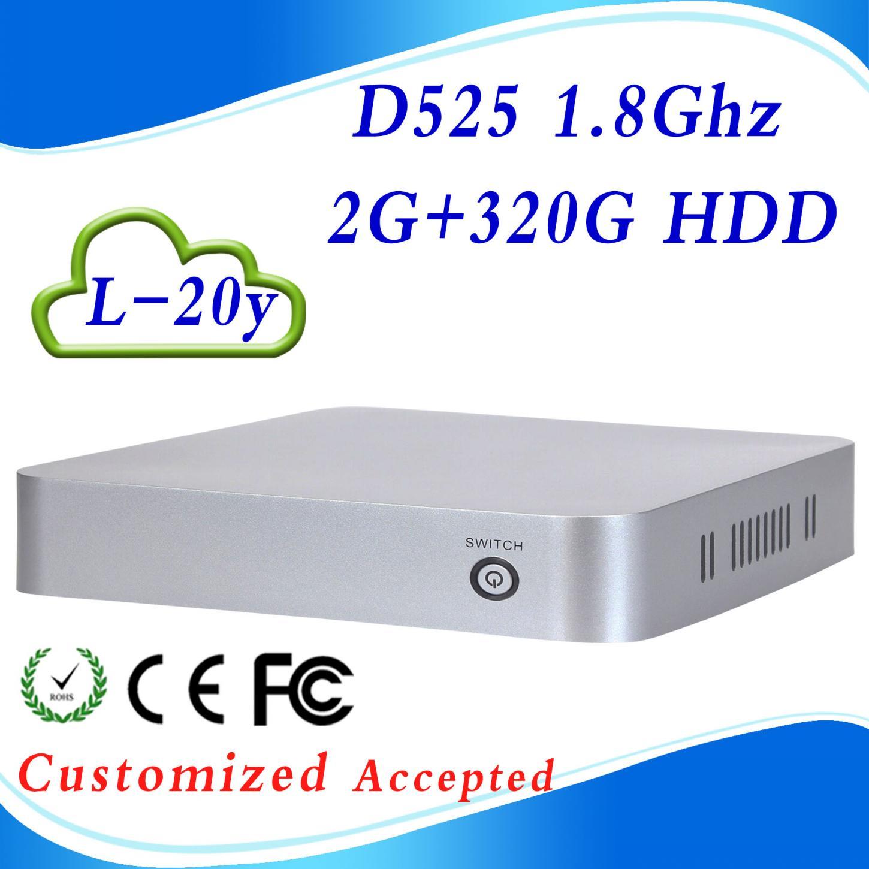 Support VGA L-20Y D525 Atom Dual-core 2G RAM 320G HDD computers gaming mini itx tv computer Good Quality(China (Mainland))