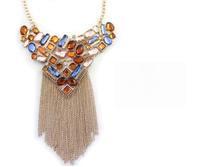 Zircon golden exaggerated fringe short necklace
