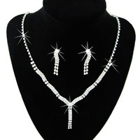 Min Order $5 (Mix Order) Bride Necklace Earrings Set Rhinestone Wedding Necklace Bridal Jewellery Set Necklace 6229#