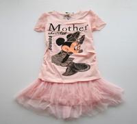 Children suits  girls short-sleeved T-shirt skirt suit  HU6701