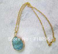 Natural Quartz Blue Gem stone Druzy Agate jewelry pendants necklace 5pcs/lot