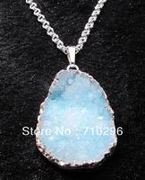 Blue quartz Druzy jewelry pendants Brass necklace Silver plated Drusy necklace 4pcs/lot