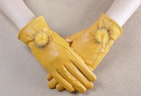 lady women elegant warm winter leather gloves black yellow color for women