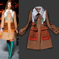 New Arrival European Runway Fashion Women Turn-down Collar Embroidery Woolen Coat Designer Winter Overcoats SS13337