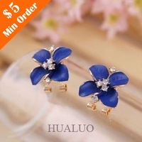 2014 New Fashion Korean Style Temperament Drip Oil Flower Rhinestone Earring E1079