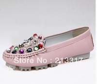 Freeshipping 2013 sheepskin  rhinestone female gommini loafers genuine leather driving  female flat heel single shoes flat