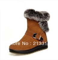 Free shipping Stand  leather suede snow boots  of casual cow muscle slip-resistant outsole female cotton-padded