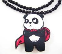 Panda chivalrous man pendant designs hip hop good wood made rosary beaded pendants necklaces(10pc/lot)