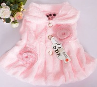 Free shipping children fine wool vest kids outerwear sleeveless downy tops girl's leisure flower hairy vest coat