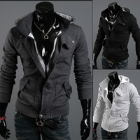 Freeshipping Spring and autumn Hooded zipper solid colur cardigan men's casual slim warm jacket hoodie