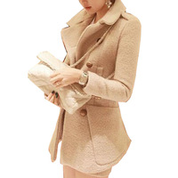 New Women Autumn And Winter Wool Blend Outerwear Slim Double Breasted Coat Jacket GWF-67409