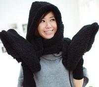 3 in 1 Set ! Winter Warm Solid Lamb Berber Fleece Hood, Bib & Gloves set, Girl's Fashion Winter Set