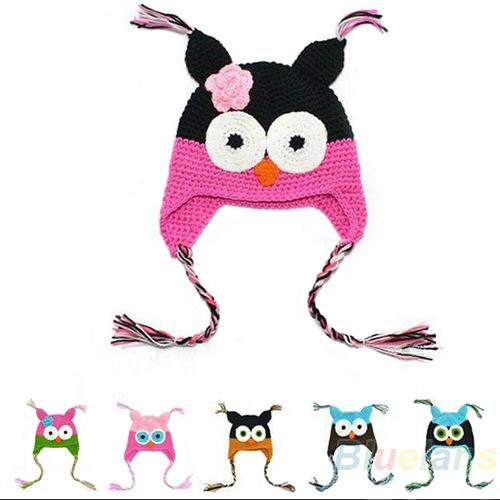 Multicolor Infant Toddler Handmade Knitted Crochet Baby Hat owl hat Cap with ear flap Animal Style For Girl Boy Gift(China (Mainland))