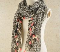 Free shipping fashion chiffon triangle tassel scarf women punk style shawl Paris fashion week F028