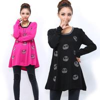 Plus size clothing big size 2013 mm autumn sweater knitted fashion rhinestones bear a long design