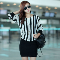 2013 autumn and winter women stripe twinset 1657