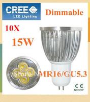 10pcs/lot High power Dimmable GU5.3/MR16 5x3W 15W AC85~265V  OR 12V  Rotundity LED Lamp LED Light Bulb Downlight light bulb