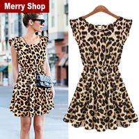 Free Shipping 2013 New Sexy One-piece Dress Leopard Print Casual Microfiber Sundress Big size M L XL High quality