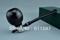 SAN beech wood pipe smooth Wooden Black  round  bulb smoking Tobacco Pipe