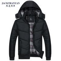 2013 thickening thermal cotton-padded jacket detachable cap winter outerwear wadded jacket plus size male cotton-padded jacket