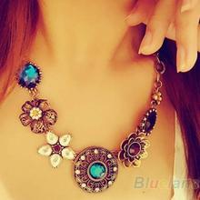 2013 New Fashion Retro Vintage  European Style Fashion Gorgeous Austria Crystal Flowers Bib Statement Necklace Sale