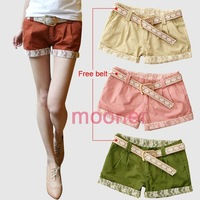 Casual Women Lace Floral Mini Short Hot Pants Low Rise girl's Basic Trousers WE0553