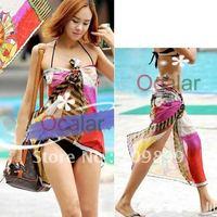 Summer style Women Lady Veil Colorful Sarong Hawaii Beach cool Wear Swimwear Chiffon Bikini Cover Up Scarf Dress Swimsuit E0443