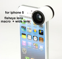 High quality New arrival  3 in 1 lens 180 Fisheye Lens Macro Lens Wide angle Lens Teog lens for iphone5 iphone 5 10pcs/lot