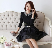 Cii 2013 autumn new Korean temperament Slim dress doll collar long-sleeved dress