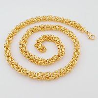"""Fashion 22.5""""*9mm 14K Yellow Gold Plated Men Stainless steel necklace Byzantine costume jewelry,Retail+Wholesale,VN167"""