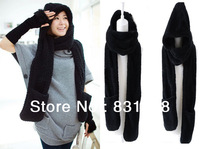 2013 Winter On Sale Lamb Cashmere Hoodie Plush Thickened Lovers Scarf  Woman 's  Hat Gloves In One Scarf Free Shipping