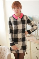 fashion winter Elegant black and white plaid thickening big circle womans woolen long-sleeve one-piece dress