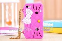 New Fashion 3D Hello Kitty silicon handbag chain case cover for iphone 5C case with chain Free Shipping 10pcs/lot