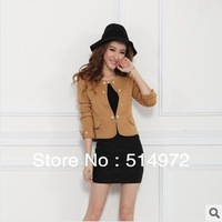 Women small suit ladies short design puff sleeve back bow casual blazers free shipping