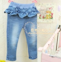 high quality new arrival  children's clothing girls fashion personality laciness legging girls denim tights
