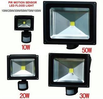 Free shipping outdoor IP66 10W 20W 30W 50W PIR Motion led sensor flood light Induction Sense detective Sensor lamp(China (Mainland))