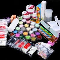 2014 Hot Full Acrylic Glitter Powder File Decoration French Nail Art UV Gel Tips Kit Set