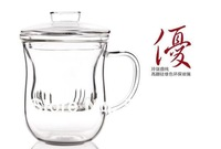 Free shipping heat-resisting glass tea cup flower tea cup glass cover/ band filter/ glass cup  350ml